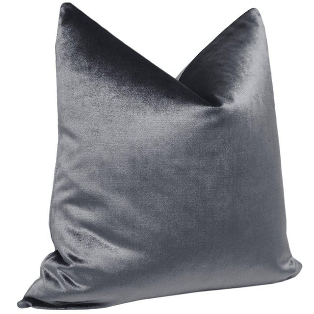 """Contemporary 22"""" Graphite Velvet Pillows - a Pair For Sale - Image 3 of 5"""