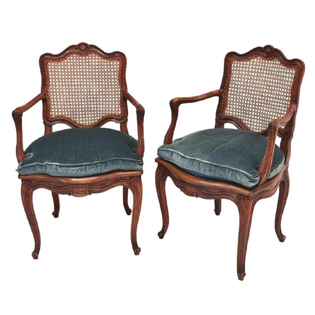 Early 20th Century French Louis XV Style Walnut Caned Fauteuils- a Pair For Sale - Image 13 of 13