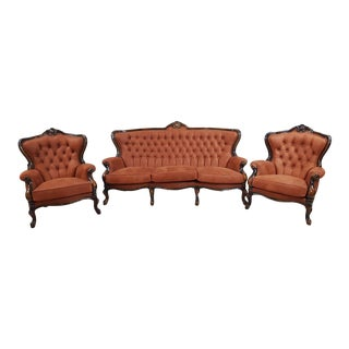 French Louis XV Baroque Newly Upholstered Sofa Set - 3 Pieces For Sale