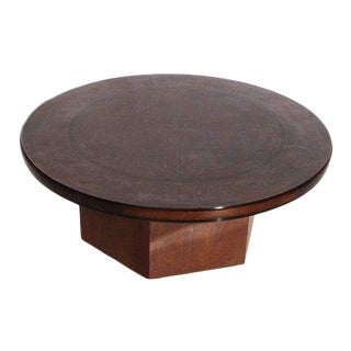 1960s Italian G. Urs Etched Copper Topped Coffee Table For Sale