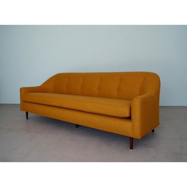 Flexsteel Mid-Century Modern Sofa Reupholstered in Orange Wool For Sale - Image 4 of 13