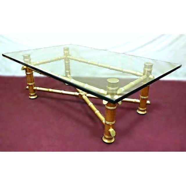 Faux Bamboo Glass Top Coffee Table For Sale - Image 4 of 10