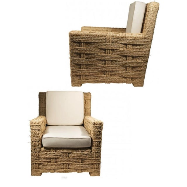 Audoux minet pair of woven hay rope and canvas cloth lounge comfy chairs