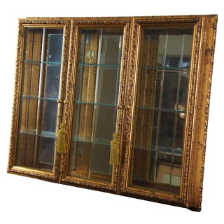 Vintage Neiman Marcus Horchow 3 Door Wall Hanging Curio Cabinet Glass Front Gold Italian Preview