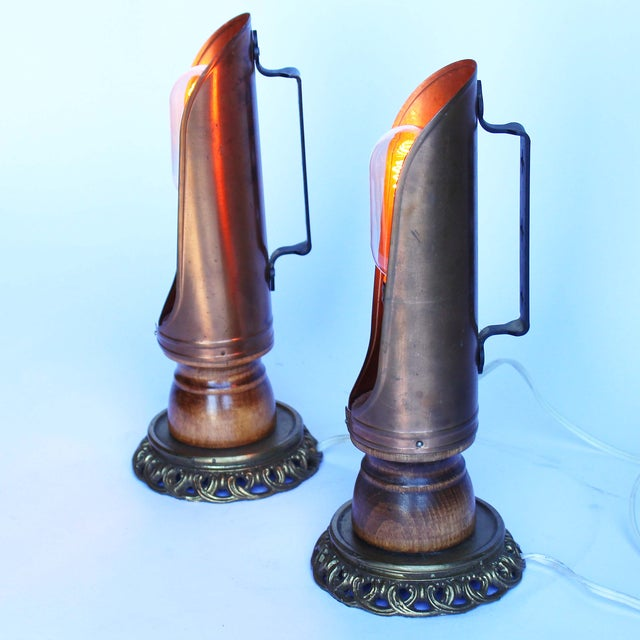 Vintage Copper Candleholder Lamps - A Pair - Image 3 of 6