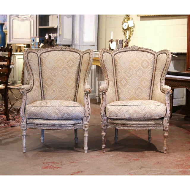 19th Century Louis XVI Carved and Painted Ear Shape Fauteuils - a Pair For Sale - Image 13 of 13