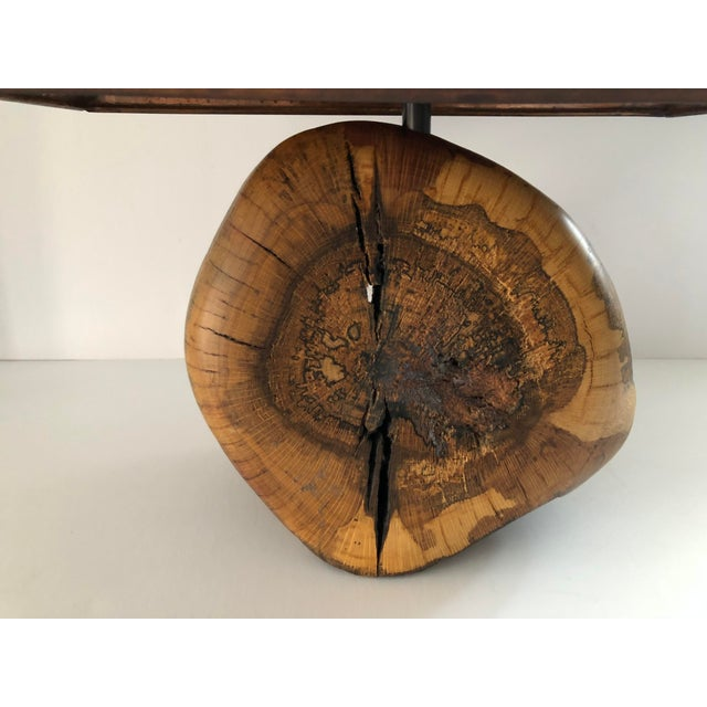 Very cool vintage burl wood lamp. The custom copper shade has perforations to allow for additional light. The burl is...