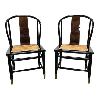 Henredon Asian Chinoiserie Black Lacquer Cane Seat Dining Chairs - Pair For Sale
