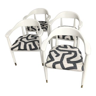 1960s Vintage Baumritter Geometric Kuba Print Lacquered Chairs- Set of 4 For Sale