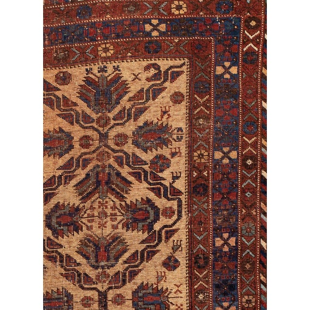 Traditional Antique Square Persian Afshar Handmande Wool Rug For Sale - Image 3 of 7