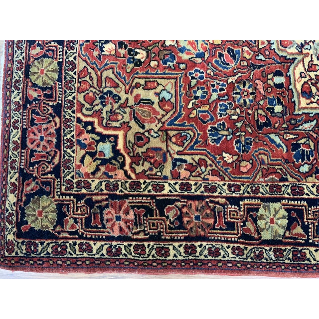 """Red 1930s Antique Persian Sarouk Rug- 3'3"""" X 4'10"""" For Sale - Image 8 of 10"""
