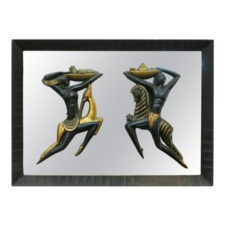 Very Large Mid Century Wall Mirror With Carved Tribal Sculptures in the Center For Sale