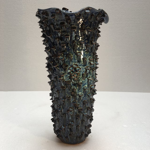 Ceramic Abstract Sapphire Blue Textured Pottery Vase For Sale - Image 7 of 7