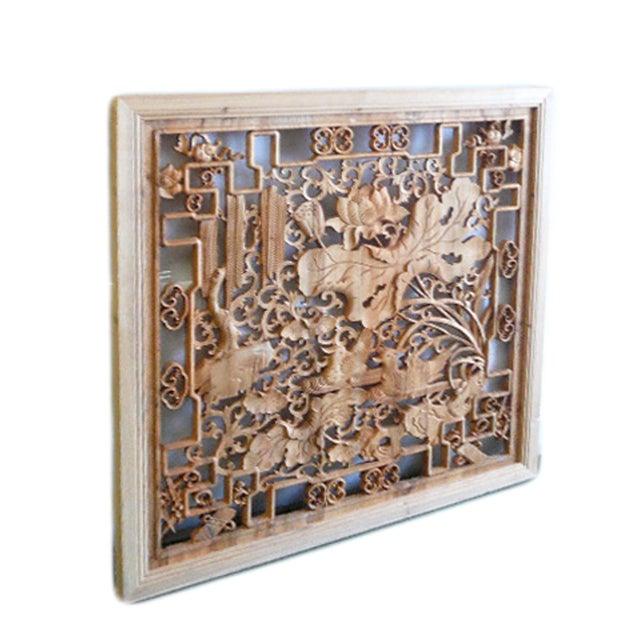 Lotus & Birds Wood Wall Plaque - Image 3 of 5