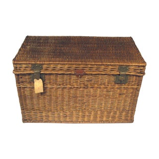 Large Antique French Wicker Trunk For Sale