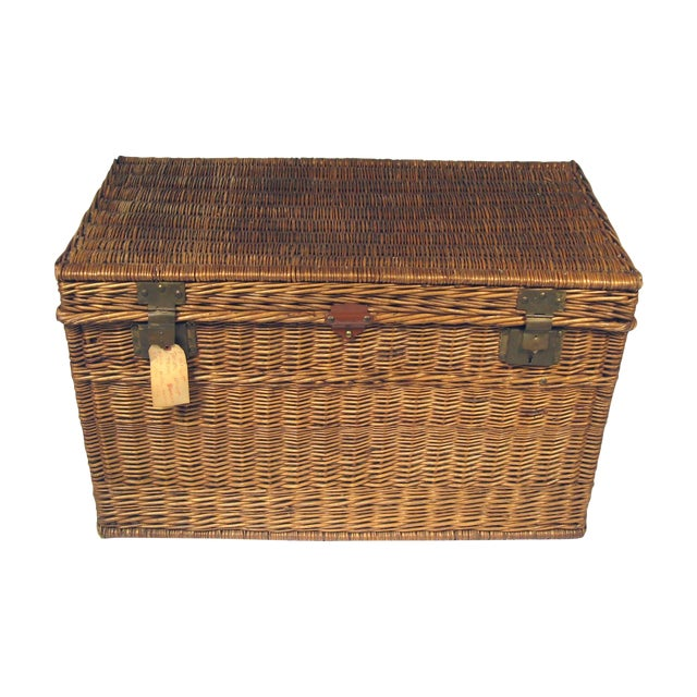 Large Antique French Wicker Trunk - Image 1 of 6