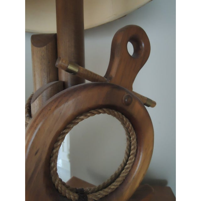 Brown Nautical Hand Crafted Pine Wood Lamps - A Pair For Sale - Image 8 of 13