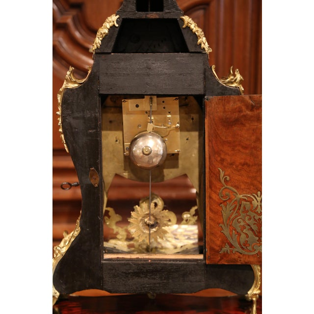 Mid-20th Century French Tortoiseshell and Bronze Boulle Mantel Clock With Base For Sale - Image 10 of 11