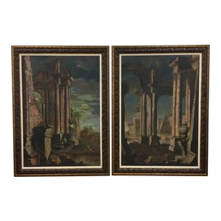 Monumental 18th C Roman Ruins Painting - a Pair For Sale
