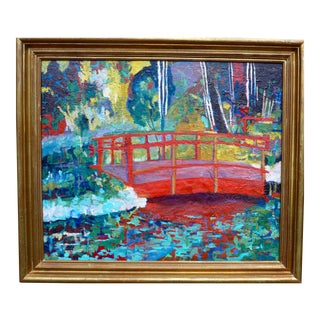 Contemporary Painting, Japanese Bridge on the Pond For Sale
