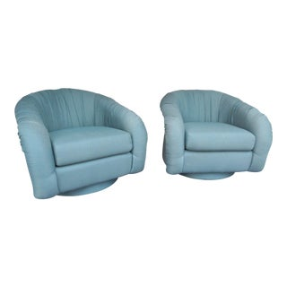 Vintage Lazar Barrel Back Swivel Lounge Chairs - A Pair