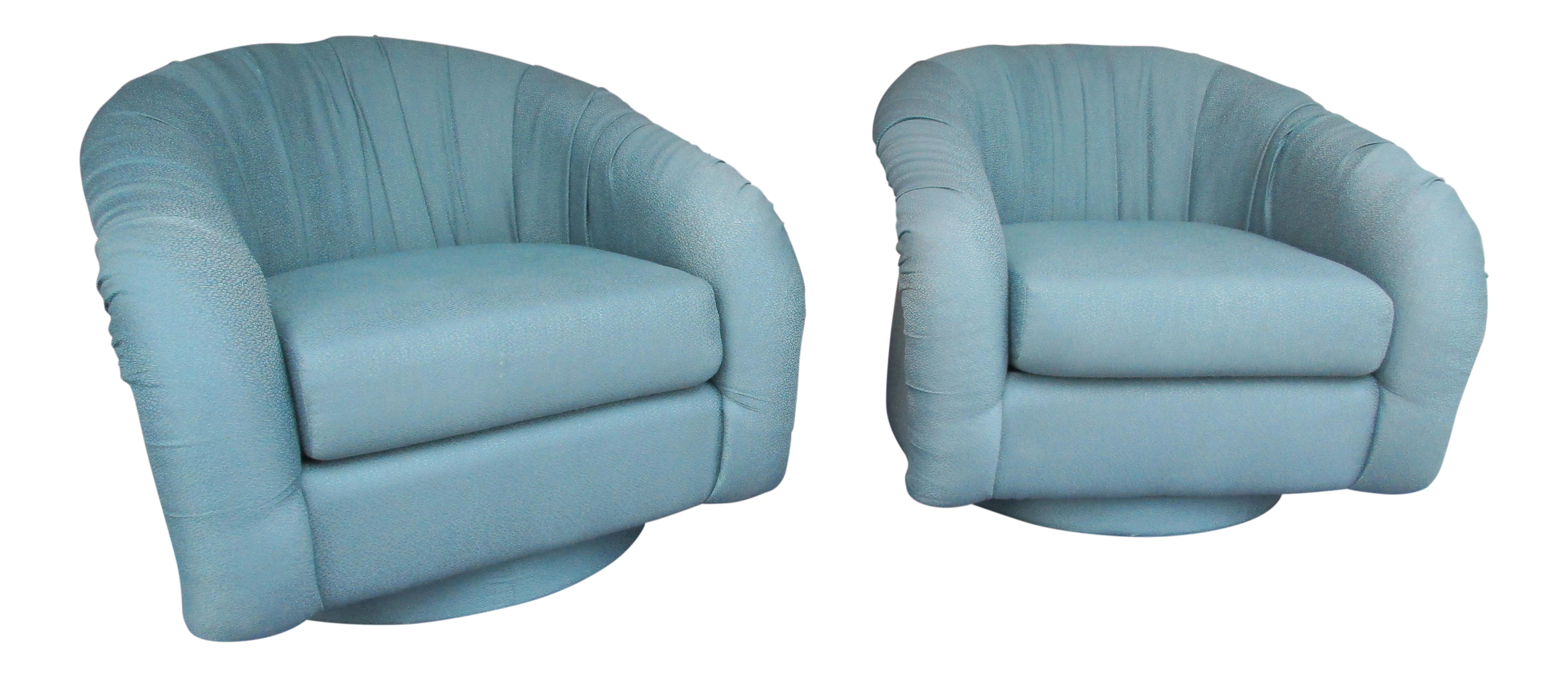 Marvelous Vintage Lazar Barrel Back Swivel Lounge Chairs   A Pair