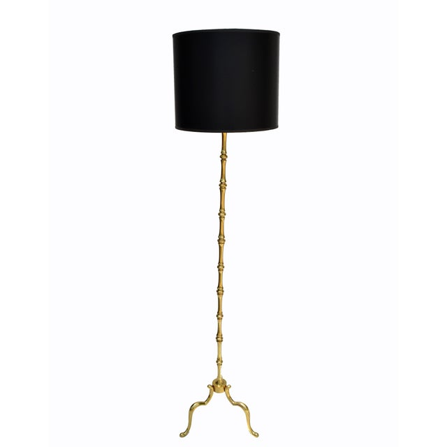 Metal Maison Baguès French Neoclassical Bronze Bamboo Floor Lamp For Sale - Image 7 of 13