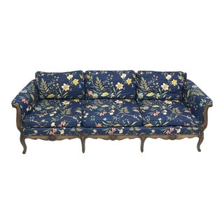 Blue Floral Chintz French Style Sofa