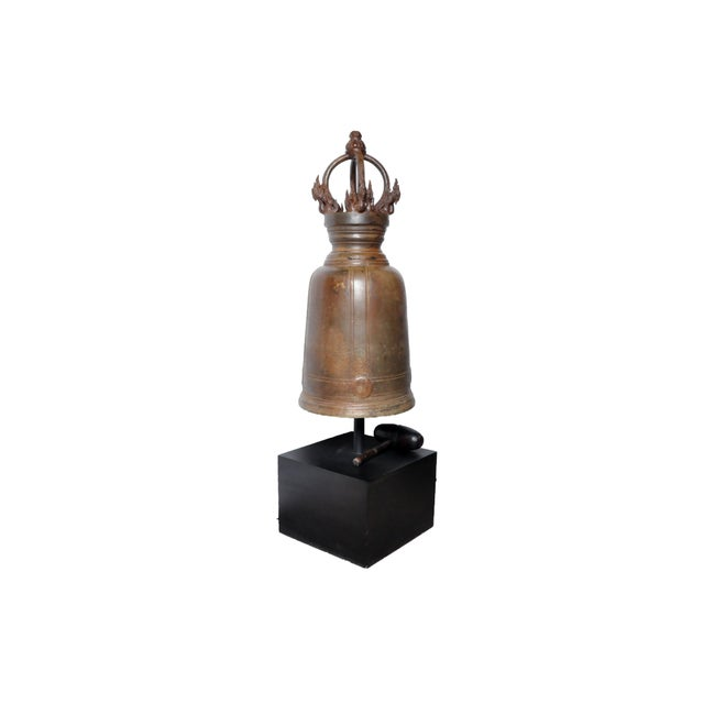 This Thai temple bell is from Central Thailand and is made from bronze, circa 1980. This temple bell features beautiful...