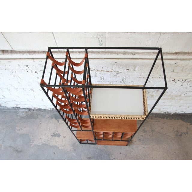 Arthur Umanoff Mid-Century Modern Leather and Iron 40-Bottle Wine Rack, Two Available For Sale - Image 9 of 13