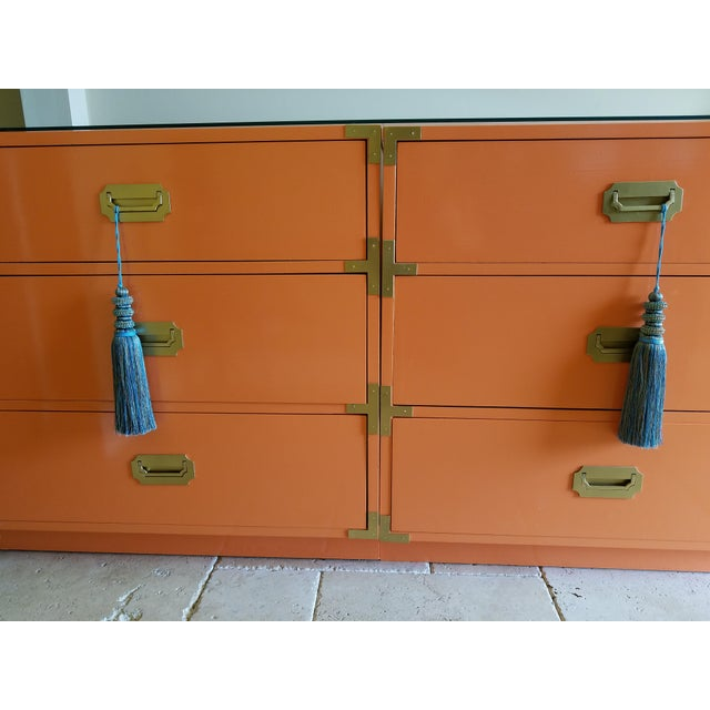 Orange Campaign Style Nightstands - A Pair - Image 5 of 8