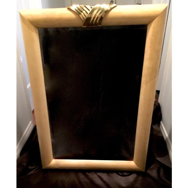 Mid-Century Goatskin Brass Detail Mirror For Sale - Image 4 of 4