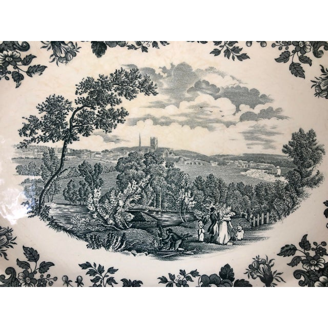 """Shabby Chic Royal Worcester Palissy """"Avon Scenes"""" Hand Engraved Porcelain Platter For Sale - Image 3 of 10"""