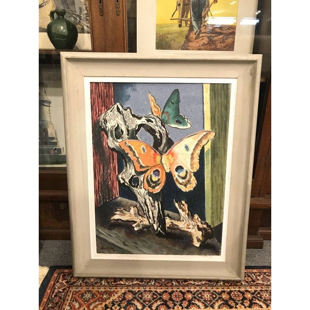 Vintage Mid-Century Buccholz Gothic Butterflies Painting For Sale - Image 4 of 5