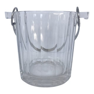 Mid Century Modern Italian Crystal and Silver Ice Bucket For Sale