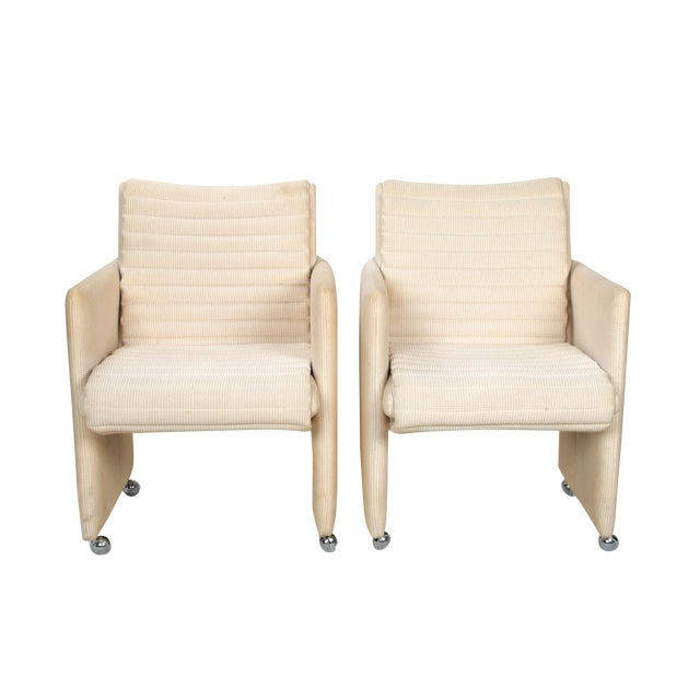 Milo Baughman Armchairs on Casters - Pair For Sale