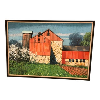 1970s Vintage Barn Painting by John Foster For Sale