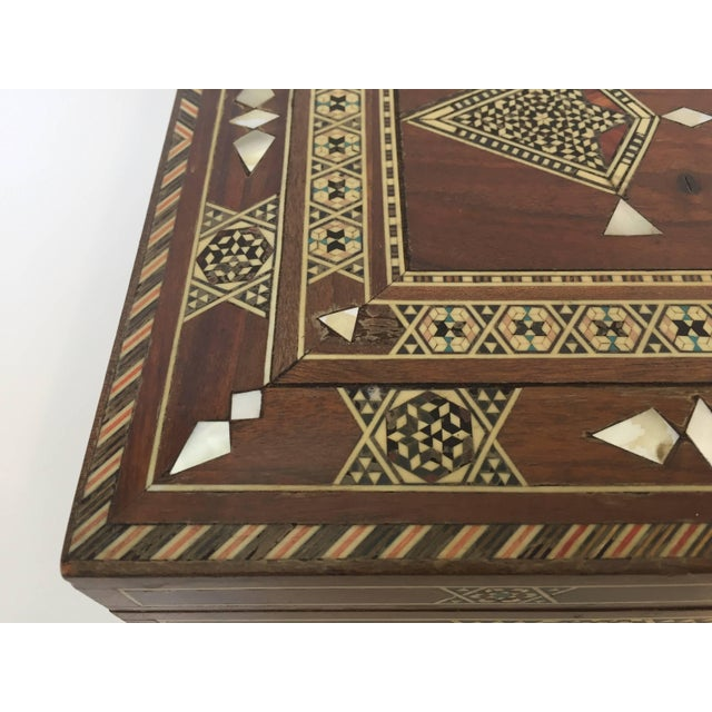 Wood Large Islamic Syrian Wooden Micro Mosaic Box For Sale - Image 7 of 13