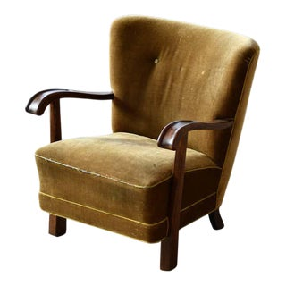 Fritz Hansen Attributed Danish 1940s Easy Chair With Open Armrests in Oak For Sale