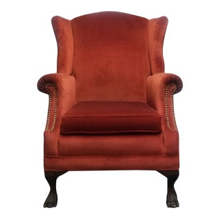 Vintage French Provincial Orange Velvet Wingback Chair For Sale