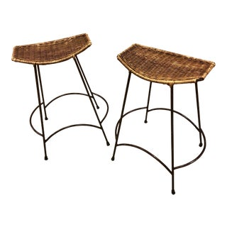 1970's Arthur Umanoff Wrought Iron & Wicker Stools - a Pair For Sale
