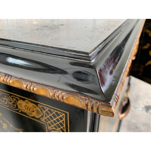 20th Black Lacquer and Hand Painted Open Altar Table or Sideboard For Sale In Miami - Image 6 of 13