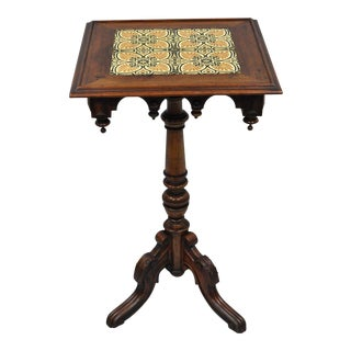 Mid 19th Century Victorian Walnut Arts & Crafts Tile Top Renaissance Revival Pedestal Table For Sale