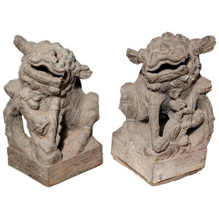 Chinese Pair of Stone Guardian Foo Dogs/Guardian Lions from 18th Century For Sale