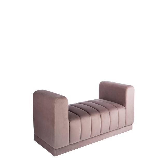 Contemporary Milly Blush Velvet Bench For Sale - Image 3 of 4