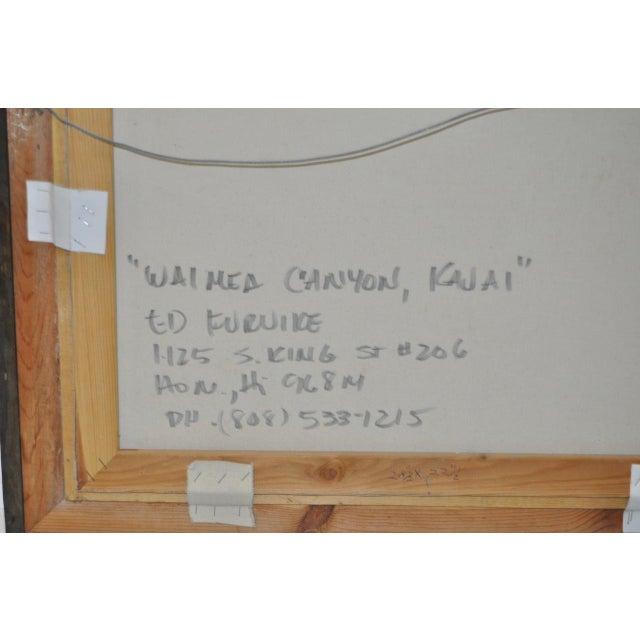 "Impressionism Ed Furuike ""Waimea Canyon"" Original Oil Painting For Sale - Image 3 of 4"