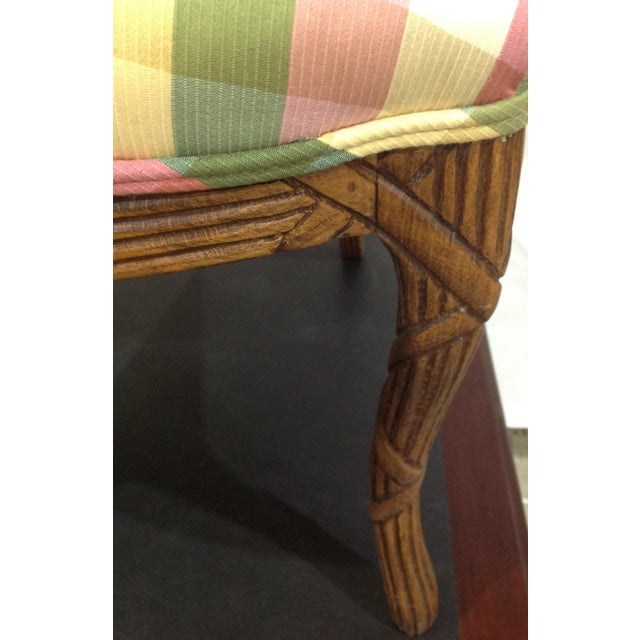 2000 - 2009 Modern French Style Arm Chair Multi Plaid Fabric - A Pair For Sale - Image 5 of 8