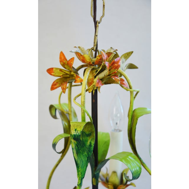 Green Vintage Italian Three Arm/Light Lily Flower Tole Chandelier For Sale - Image 8 of 11