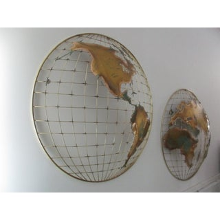 1980s Hollywood Regency Curtis Jere Globe Wall Mount Sculpture - 2 Pieces Preview