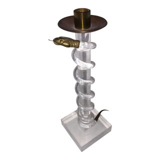 Vintage Alessandro Albrizzi Lucite and Brass Snake Candlestick For Sale